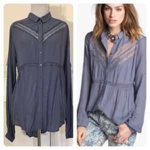 Free People Wild wind Blouse Lace button down